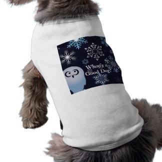 Soy un azul del búho del navidad del búho Nevado Playera Sin Mangas Para Perro