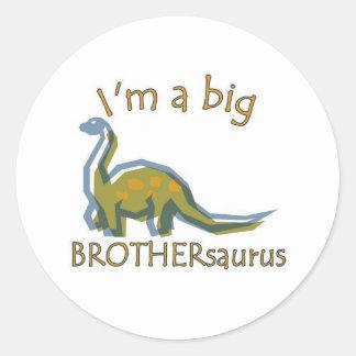 Soy un brothersaurus grande a solas pegatina redonda