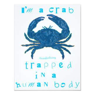 Soy un cangrejo invitación 10,8 x 13,9 cm