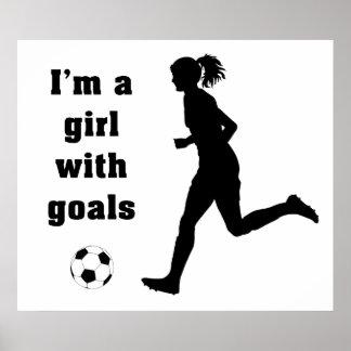 Soy un chica con la impresión/el poster del fútbol