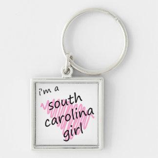 Soy un chica de Carolina del Sur Llavero Cuadrado Plateado