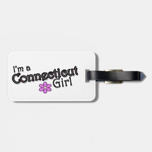 Soy un chica de Connecticut, flor, etiqueta de enc Etiquetas Para Equipaje
