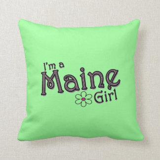 Soy un chica de Maine, almohada decorativa verde d