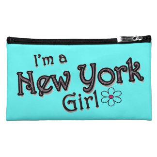 Soy un chica de Nueva York, flor, bolso azul de Ba