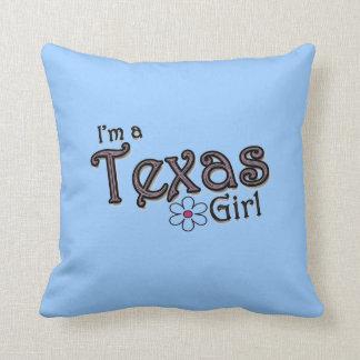 Soy un chica de Tejas, almohada decorativa azul de
