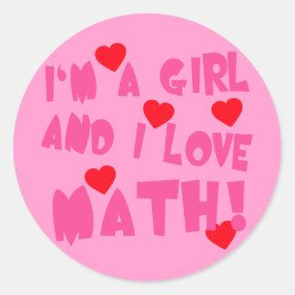 Soy un chica y amo la camiseta de la matemáticas pegatina redonda