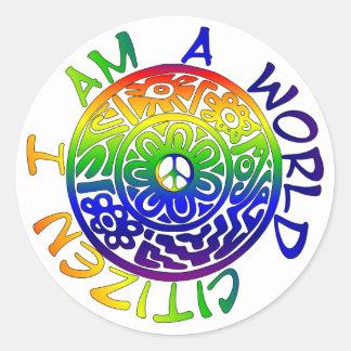Soy un ciudadano del mundo etiqueta redonda