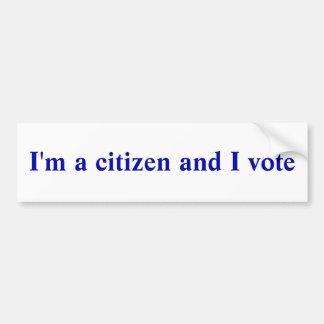 Soy un ciudadano y voto pegatina para auto