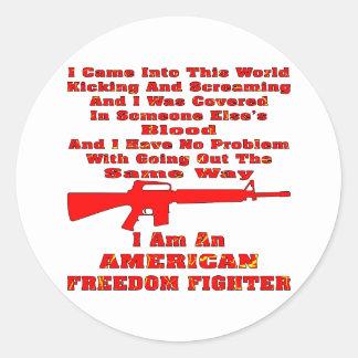 Soy un combatiente americano de la libertad pegatina redonda