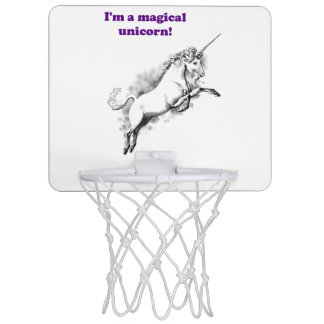 Soy un dibujo animado divertido del unicornio canasta mini