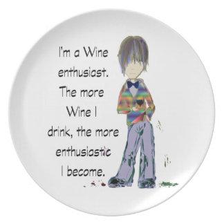 Soy un entusiasta del vino plato de cena