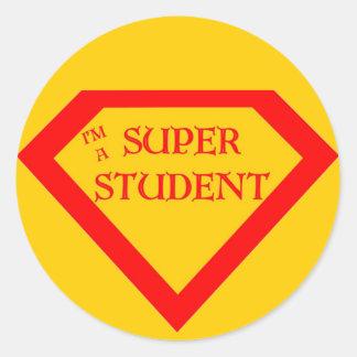 Soy un estudiante estupendo pegatina redonda