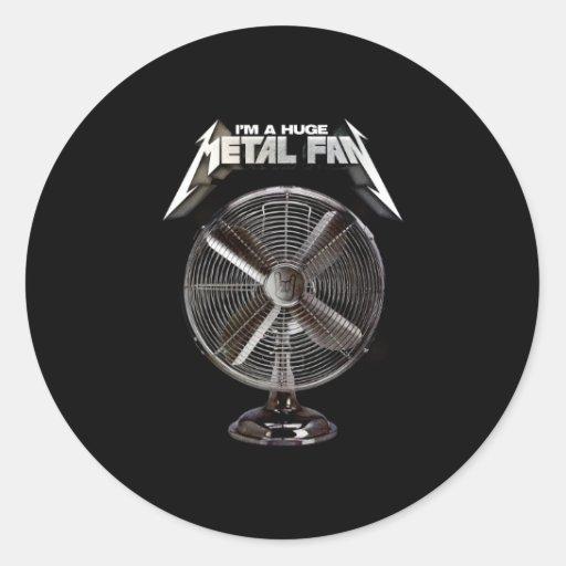 Soy un fan enorme del metal - fan del pedestal pegatina redonda
