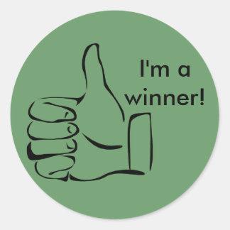 ¡Soy un ganador! Los pulgares suben a los Pegatina Redonda
