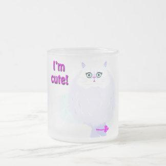 Soy un gato lindo taza cristal mate