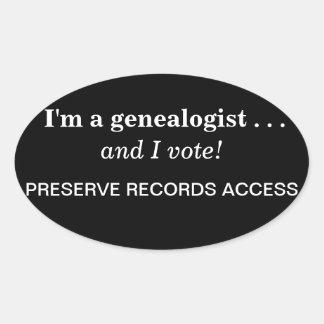 ¡Soy un genealogist y voto! pegatina