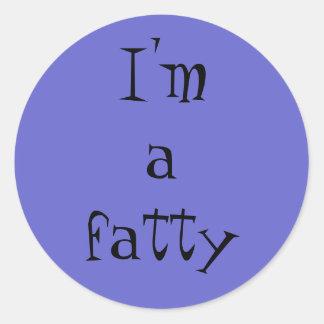 Soy un graso: pegatinas para sus amigos gordos pegatina redonda