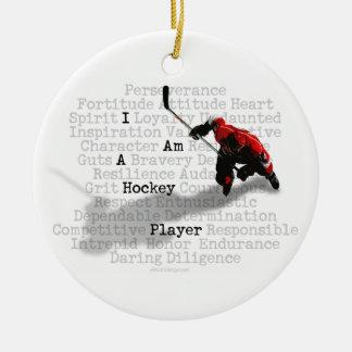 Soy un jugador de hockey adorno navideño redondo de cerámica
