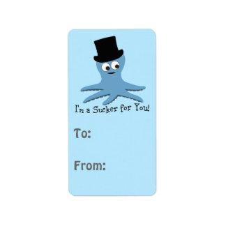 ¡Soy un lechón para usted! Pulpo azul Etiqueta De Dirección