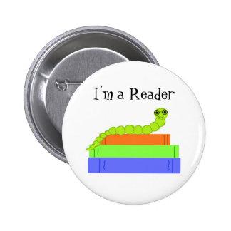 Soy un lector, ratón de biblioteca pin redondo de 2 pulgadas