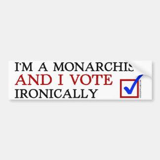 Soy un monárquico y voto irónico pegatina para auto