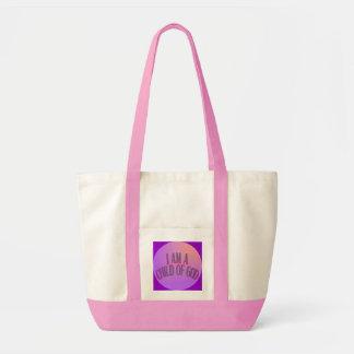 Soy un niño del bolso rosado y púrpura de dios bolsa de mano