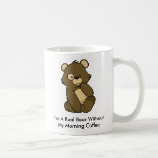 Soy un oso real sin mi café de la mañana taza clásica