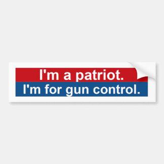 Soy un patriota. Estoy para el control de arma Pegatina Para Auto