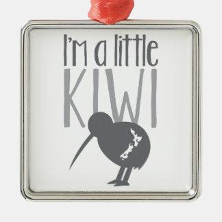 Soy un pequeño kiwi con el pájaro lindo de Nueva Adorno Cuadrado Plateado