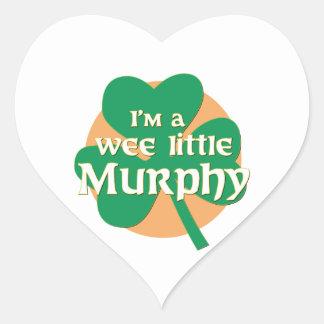 Soy un pequeño Murphy pequenito Pegatina En Forma De Corazón