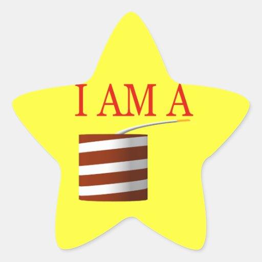 Soy un petardo pegatina en forma de estrella