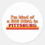 Soy un poco una GRAN COSA en Pittsburg Pegatina Redonda