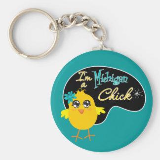 Soy un polluelo de Michigan Llavero Redondo Tipo Pin