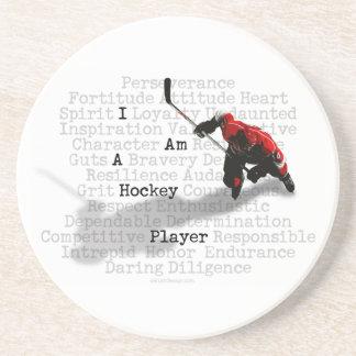 Soy un práctico de costa del jugador de hockey posavasos personalizados