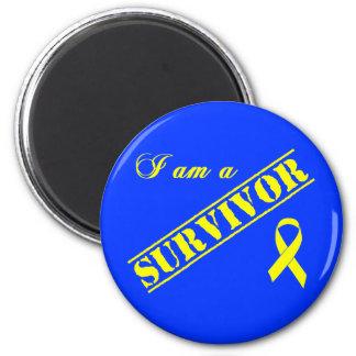 Soy un superviviente - cinta amarilla imán redondo 5 cm