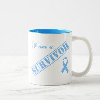 Soy un superviviente - cinta azul clara taza dos tonos