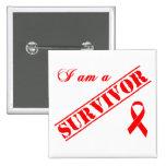 Soy un superviviente - cinta roja pin