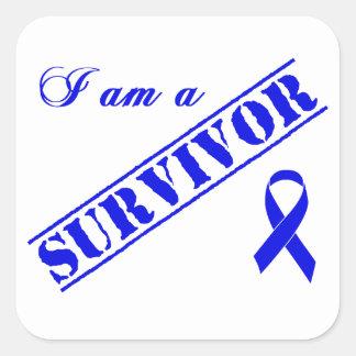 Soy un superviviente pegatina cuadrada