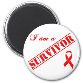 Soy un superviviente - SIDA rojo de la cinta y VIH Imán Redondo 5 Cm