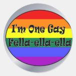 Soy un Tío-ella-ella gay Pegatina Redonda