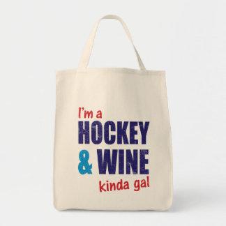 Soy un tote del galón del hockey y del vino un bolsa tela para la compra