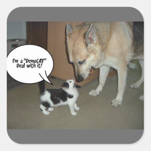 ¡Soy un trato de DemoCAT con él! Colcomanias Cuadradas
