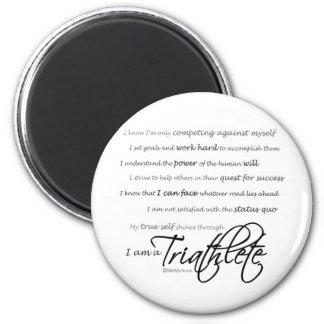 Soy un Triathlete - escritura Imán Redondo 5 Cm