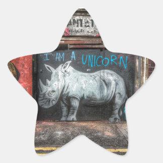 Soy un unicornio, pintada de Shoreditch (Londres) Pegatina En Forma De Estrella