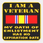 Soy un veterano que mi juramento del alistamiento  calcomanía cuadradase