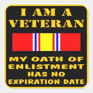 Soy un veterano que mi juramento del alistamiento pegatina cuadrada
