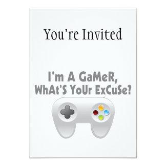 """Soy un videojugador cuál es su excusa invitación 5"""" x 7"""""""