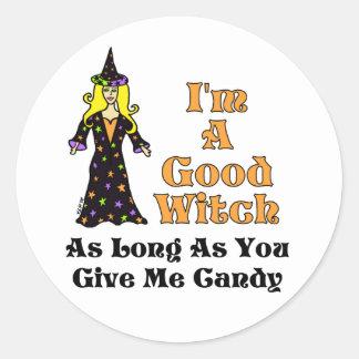 Soy una buena bruja (mientras usted me da el pegatina redonda