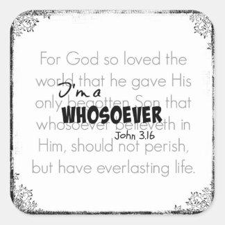 Soy una cita Juan 3,16 del verso de la biblia de Pegatina Cuadrada