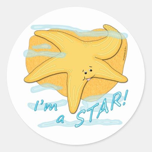 Soy una estrella de mar feliz de la estrella pegatina redonda